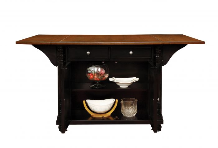 102270 Canora grey petersburg antique country style black cherry finish wood drop leaf top kitchen storage island