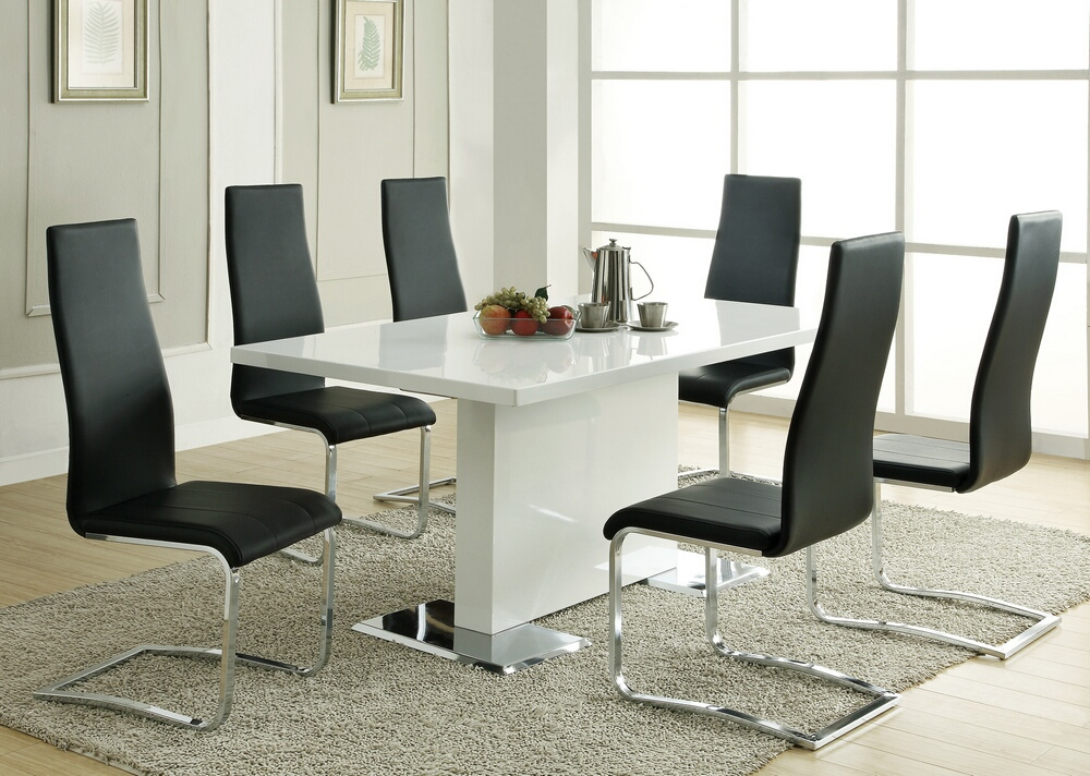 CST102310 7 pc Nameth Modern II collection white high gloss finish top pedestal base dining table set with padded chairs