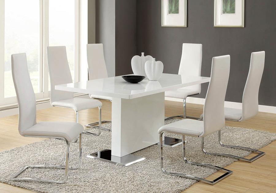 102310-100515WHT 5 pc Orren ellis anza nameth modern white high gloss finish pedestal base dining table set