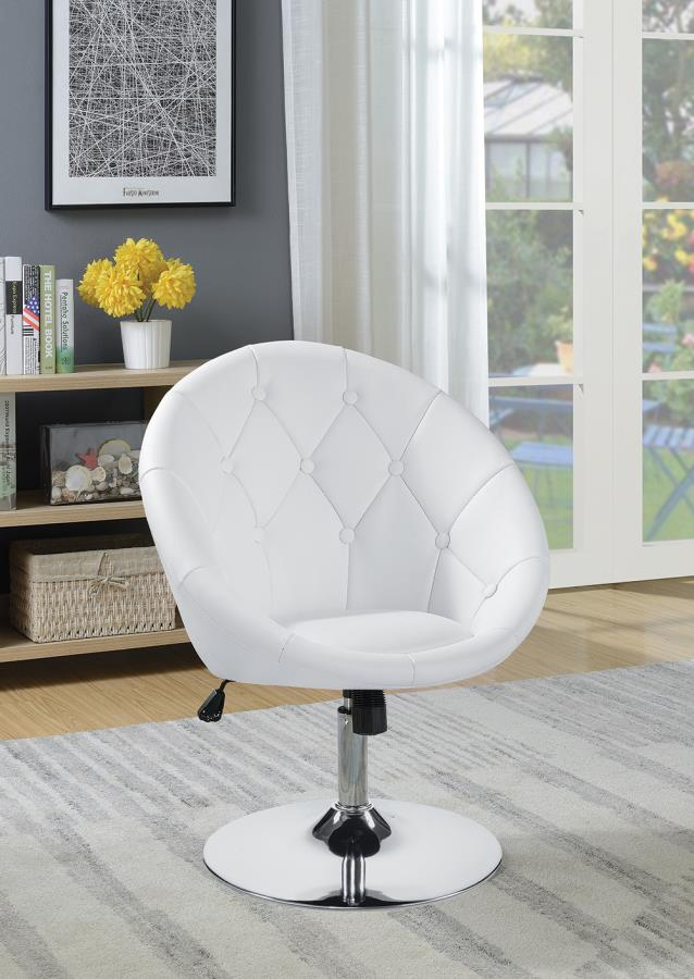 102583 Latitude run stennis white faux leather scoop chair with button tufted styling