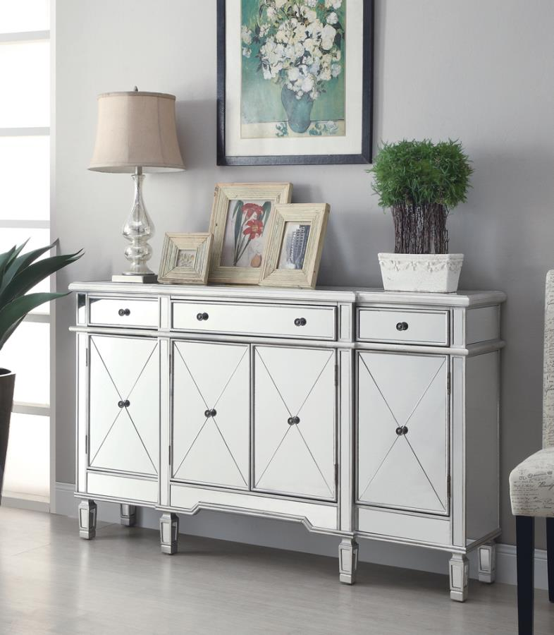 102595 Willa arlo interiors danville mirrored front hall console entry wine cabinet with doors and drawers
