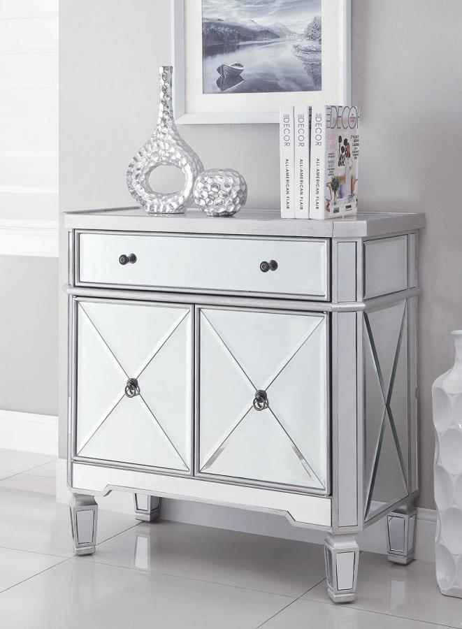 102596 Rosdorf park giuliana mirrored front hall console entry small wine cabinet with doors and drawer