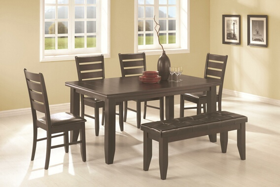 CST102721 6 PC Page Espresso Wood Finish Contemporary Rectangular Semi-Formal Dining Table Set