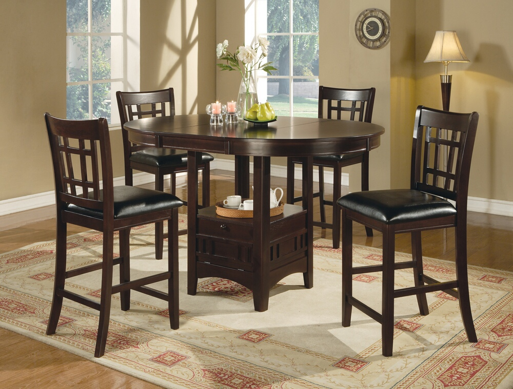 CST102888 5 pc Lavon II collection espresso finish wood oval top counter height dining table set with leaf