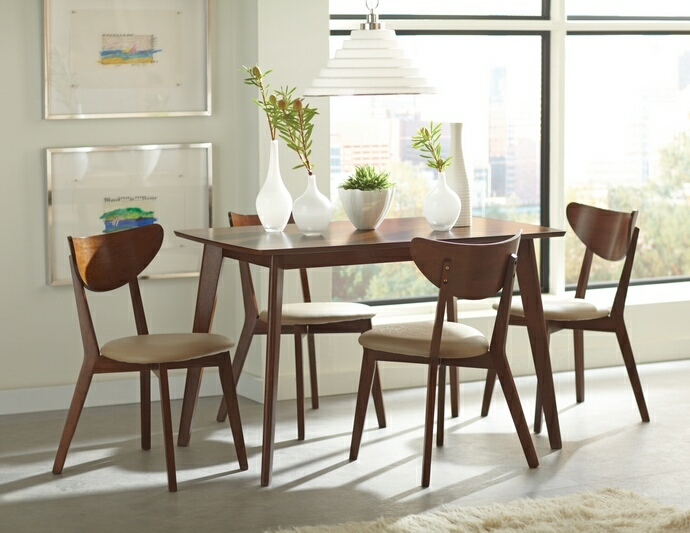 CST103061-62 5 pc Kersey II collection contemporary style chestnut finish wood dining table set