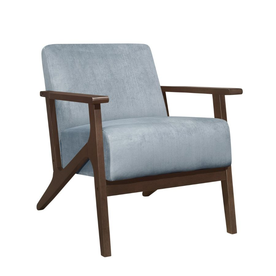 Homelegance 1031BGY-1 August mid century modern blue grey velvet fabric accent chair