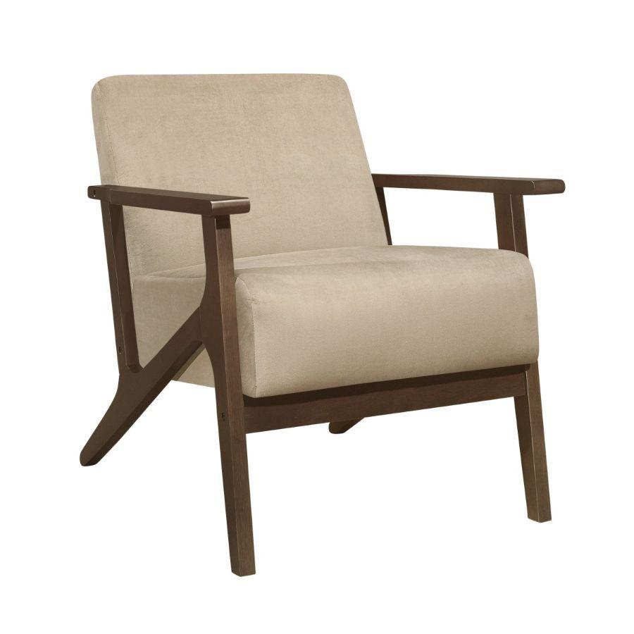Homelegance 1031BR-1 August mid century modern light brown velvet fabric accent chair