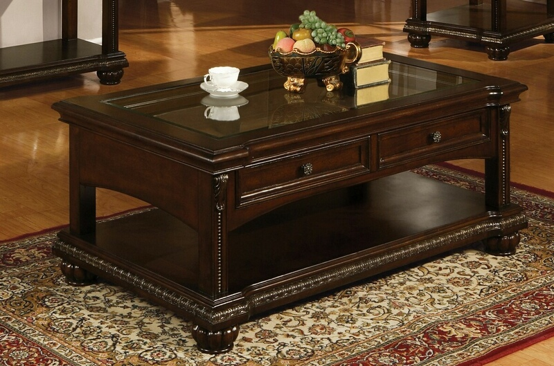 Acme 10322 Anondale Cherry Finish Wood Coffee Table With Drawers