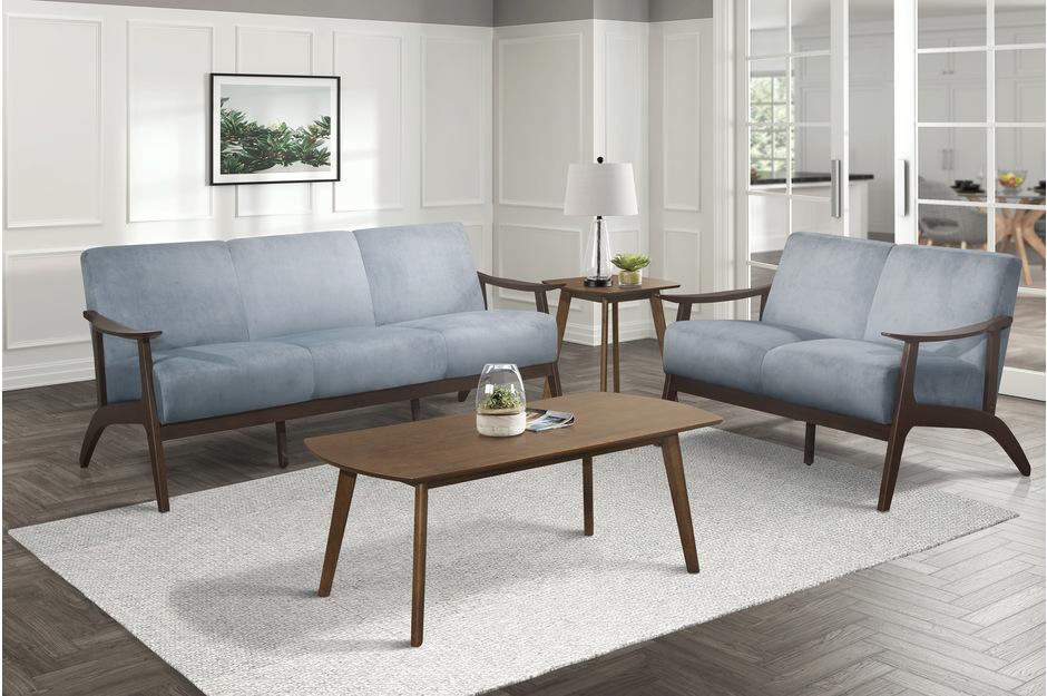 Homelegance 1032BGY-2PC 2pc Carlson mid century modern blue gray velvet fabric sofa and love seat set