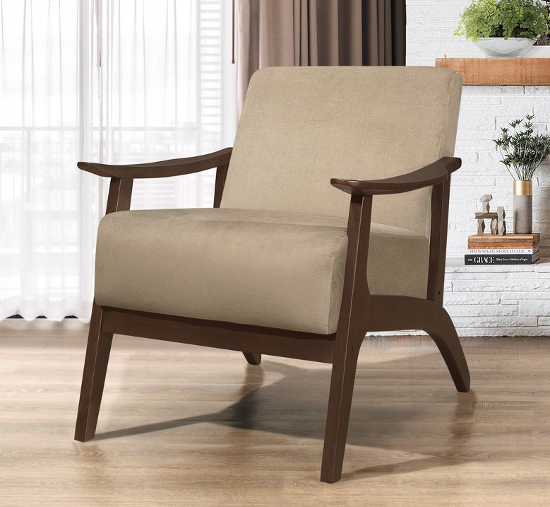 Homelegance 1032BR-1 Carlson mid century modern light brown velvet fabric accent chair
