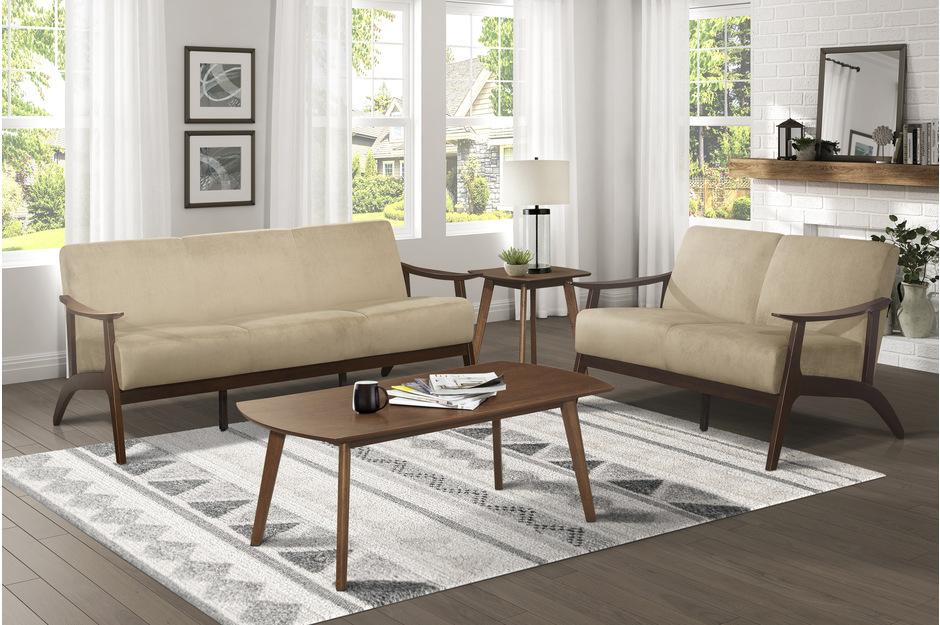 Homelegance 1032BR-2PC 2pc Carlson mid century modern light brown velvet fabric sofa and love seat set