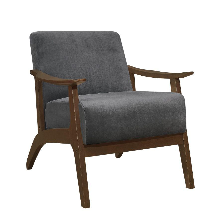 Homelegance 1032DG-1 Carlson mid century modern dark gray velvet fabric accent chair