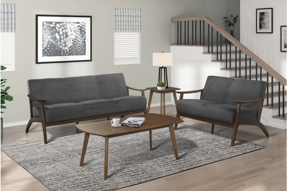Homelegance 1032DG-2PC 2pc Carlson mid century modern dark gray velvet fabric sofa and love seat set