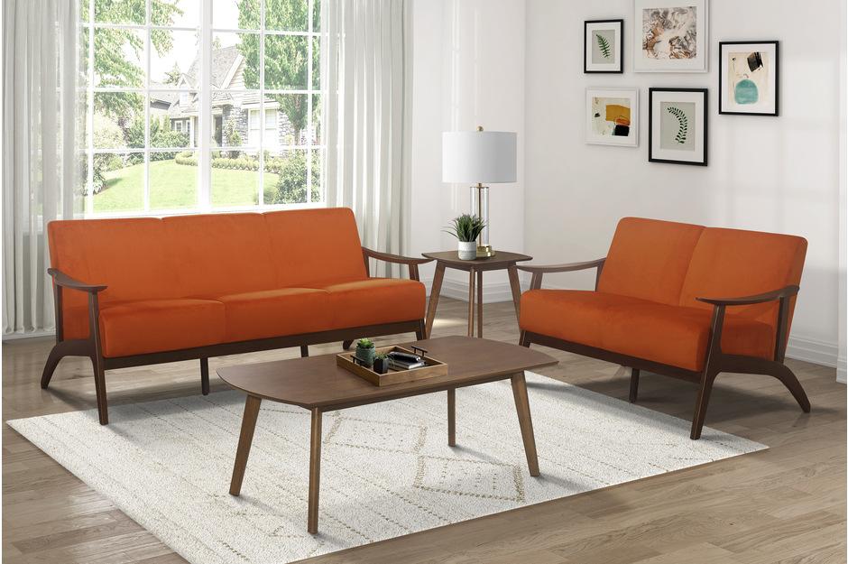 Homelegance 1032RN-2PC 2pc Carlson mid century modern orange velvet fabric sofa and love seat set