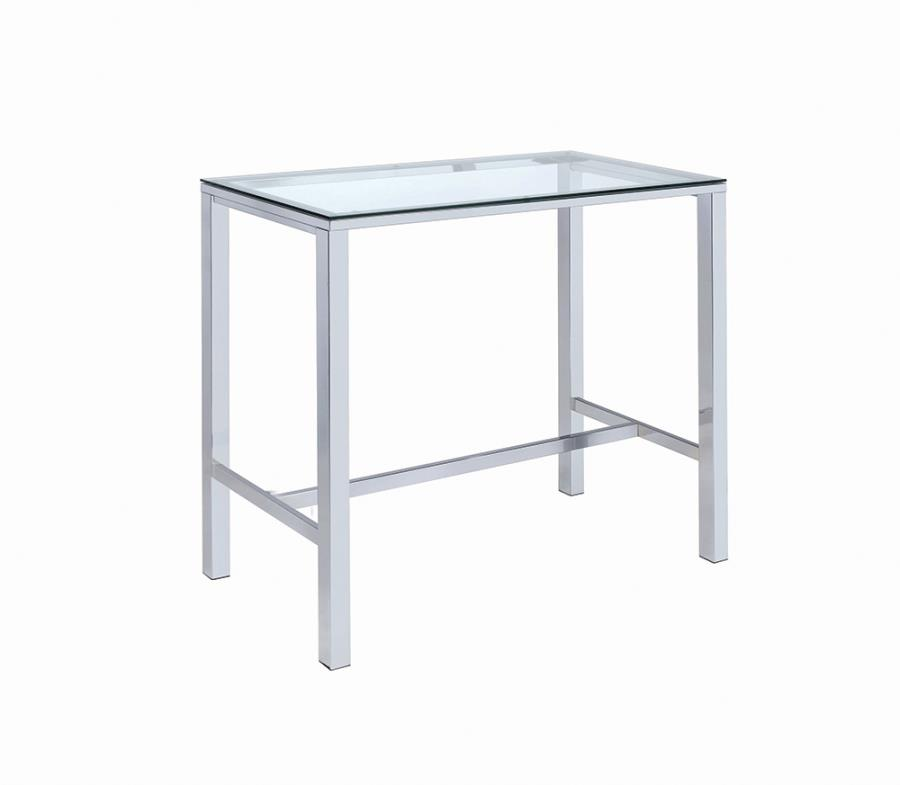 104873 Wildon home ester alba chrome metal and glass top bar table