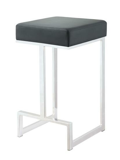 CST105253 Barista collection black leatherette and chrome metal finish frame counter height bar stool