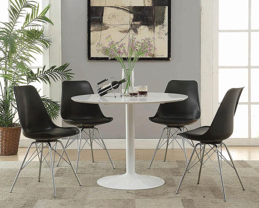 "105261 5 pc Everett corrigan lowry white finish metal 40"" round dining table set"