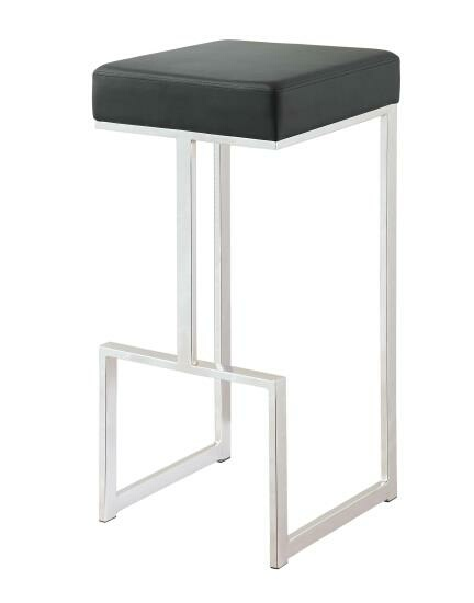 CST105263 Barista collection black leatherette and chrome metal finish frame bar stool