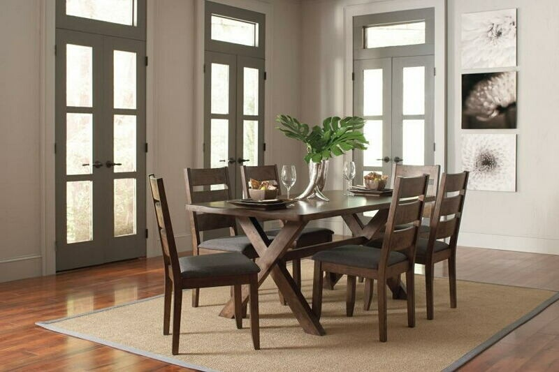 CST106381-6382 7 pc Alston II collection knotty nutmeg finish wood natural textured look top dining table set