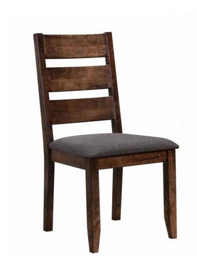 CST106382 Set of 2 Alston collection knotty nutmeg finish wood grey fabric upholstered dining chairs