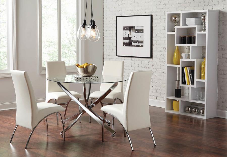 "106440 5 pc Mercer 41 beckham chrome metal finish 46"" round glass top dining table set"