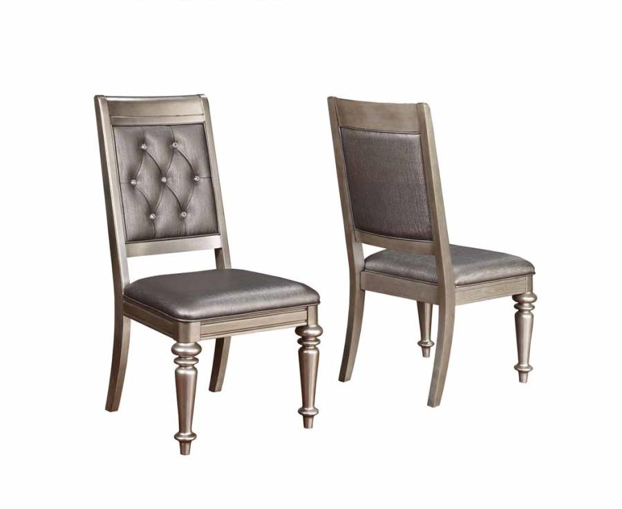 CST106472 Set of 2 Danette II collection metallic platinum finish wood metallic leatherette upholstered side chair