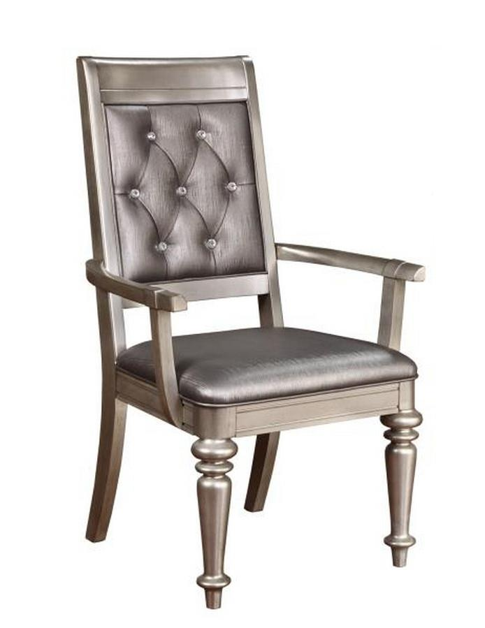 CST106473 Set of 2 Danette II collection metallic platinum finish wood metallic leatherette upholstered arm chair