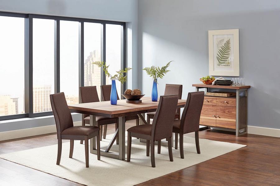 106581 7 pc Wildon home spring creek natural walnut espresso finish wood dining table set