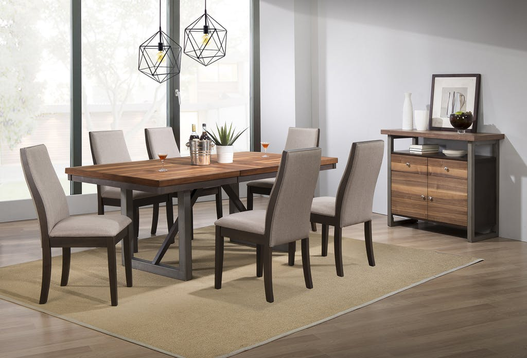 106581A 7 pc Wildon home spring creek natural walnut espresso finish wood dining table set