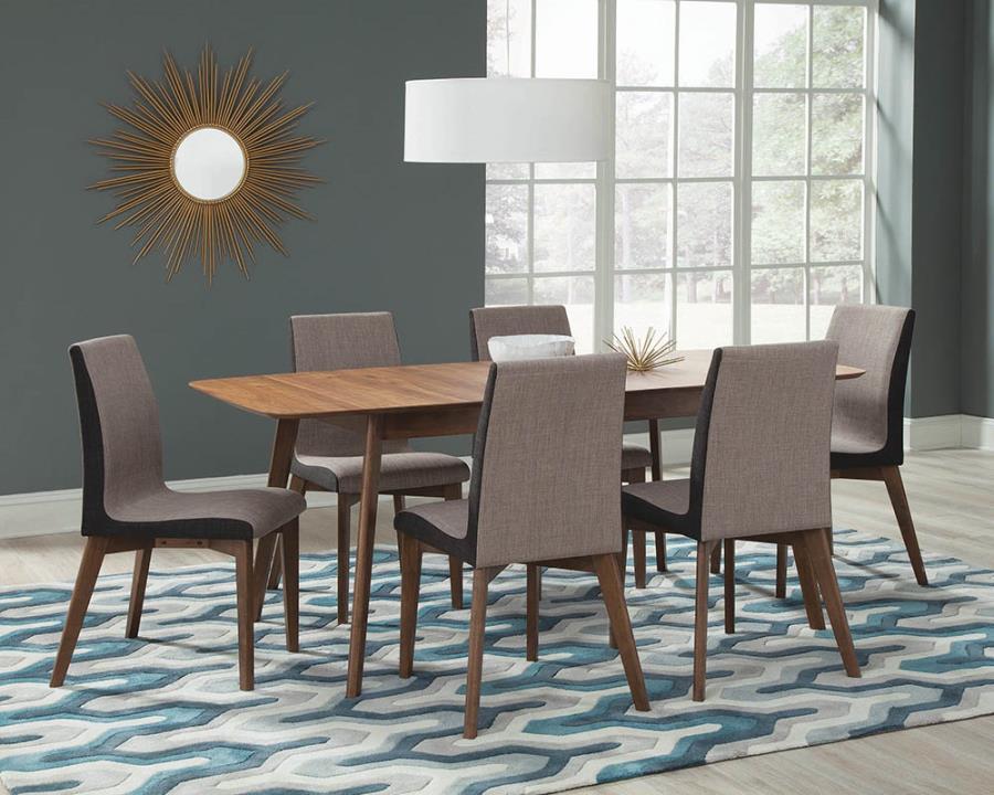 106591 7 pc Langley street alwyn redbridge mid-century modern natural walnut finish wood dining table set