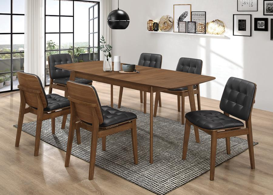 106591-96 7 pc Langley street alwyn redbridge mid-century modern natural walnut finish wood dining table set