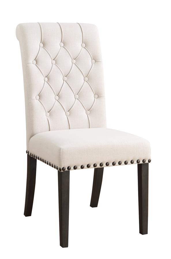 CST107286 Set of 2 weber collection cream tufted back fabric upholstered dining chair