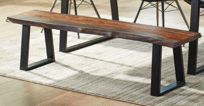 107513 Jamestown live edge gray black finish wood dining bench