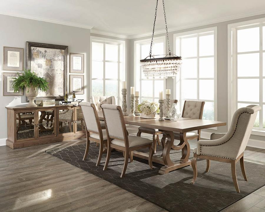 107731 7 pc Glen cove barley brown finish wood dining table set