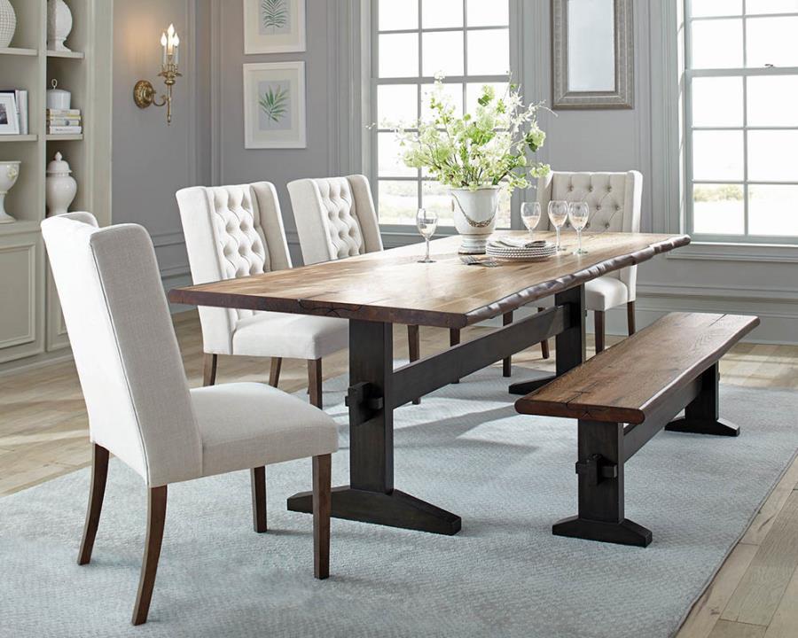 110331 6 pc Gracie oaks minehead burnham live edge natural honey finish wood dining table set