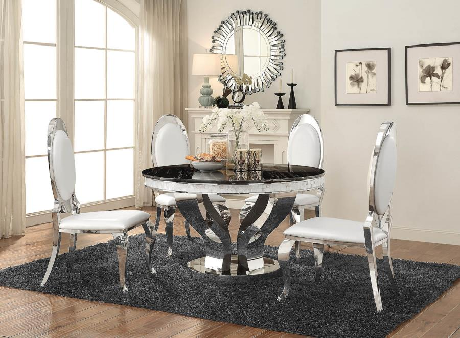 CST107891-872 5 pc Anchorage collection chrome metal base round dining table set with black glass top