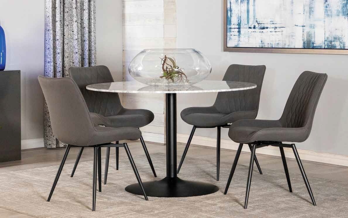 """5 pc Ivy bronx randell bartole white marble top 48"""" round black metal finish dining table set.  This set includes the table with 48"""" round marble top and 4 side chairs.  Table measures 48"""" Dia. x 30"""" H.  Chairs measure 22.75"""" x 23.5"""" x 33"""" H.   Chairs com"""
