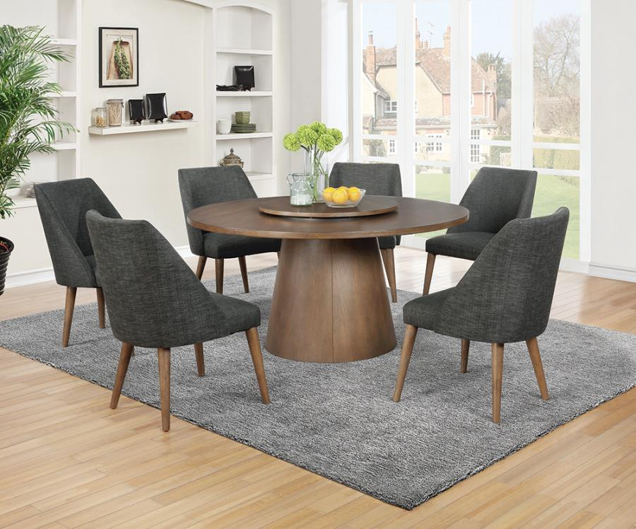 109530 7 pc Brayden studio koyande beverly dark cocoa finish wood round dining table set