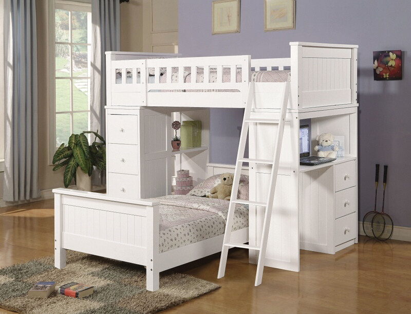 Acme 10970 Harriet bee knighton willoughby white finish wood loft bunk bed set desk drawers twin bed set