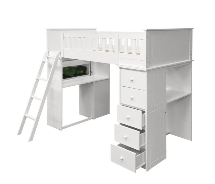 Acme 10970A Harriet bee knighton willoughby white finish wood loft bunk bed set desk drawers twin bed set