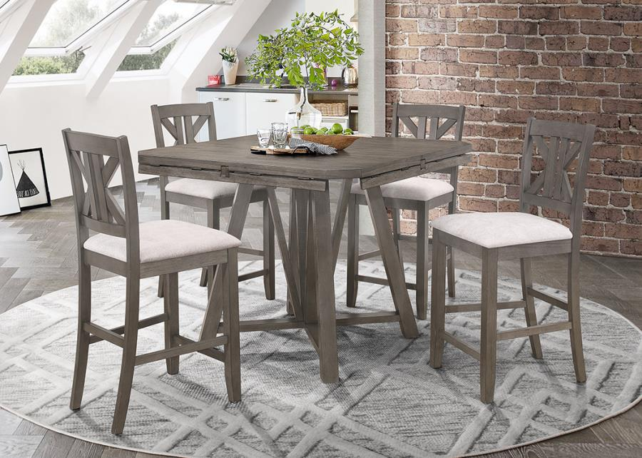109858 5 pc Rosecliff heights athens barn grey finish wood round /square drop leaf counter height dining table set