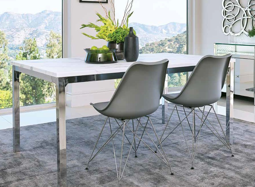 110101 5 pc Brayden studio yamna athena chrome metal faux marble top dining table set