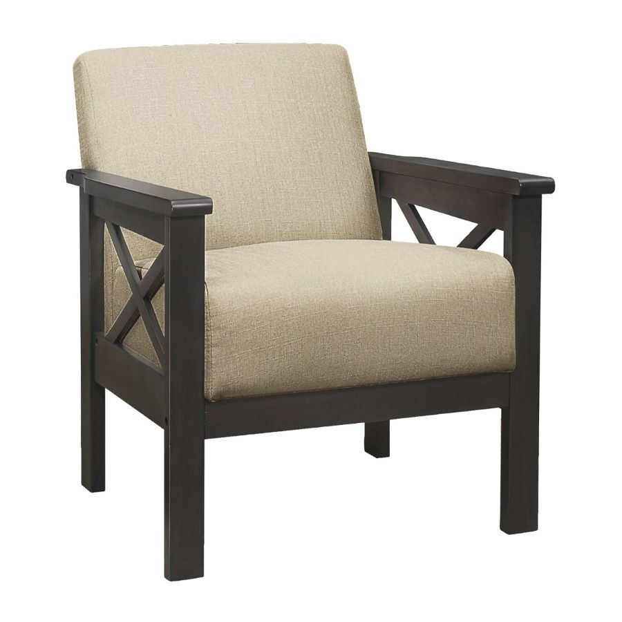 Homelegance 1105BR-1 Herriman mid century modern light brown linen fabric accent chair