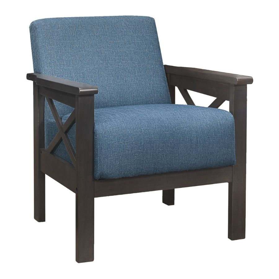 Homelegance 1105BU-1 Herriman mid century modern blue linen fabric accent chair