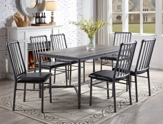 1112T-3660 7 pc Devar metal finish and wood top dining table set