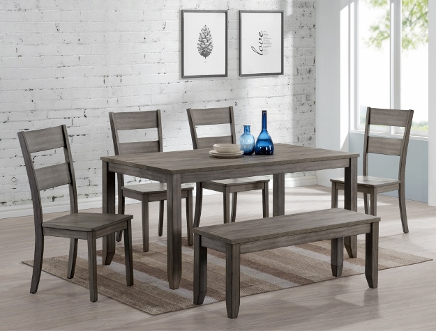 1131T-3664 6 pc wila arlo interiors sean grey finish wood dining table set with bench