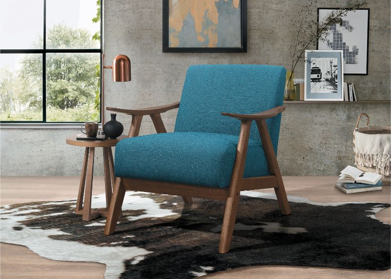 Marvelous He 1138Bu 1 Damala Blue Fabric Walnut Finish Wood Arm Retro Modern Accent Arm Chair Caraccident5 Cool Chair Designs And Ideas Caraccident5Info