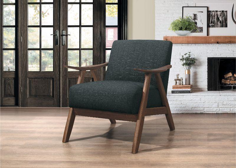 HE-1138DG-1 Damala dark gray fabric walnut finish wood arm retro modern accent arm chair