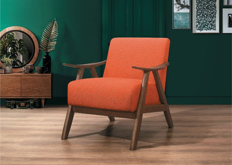 HE-1138RN-1 Damala orange fabric walnut finish wood arm retro modern accent arm chair