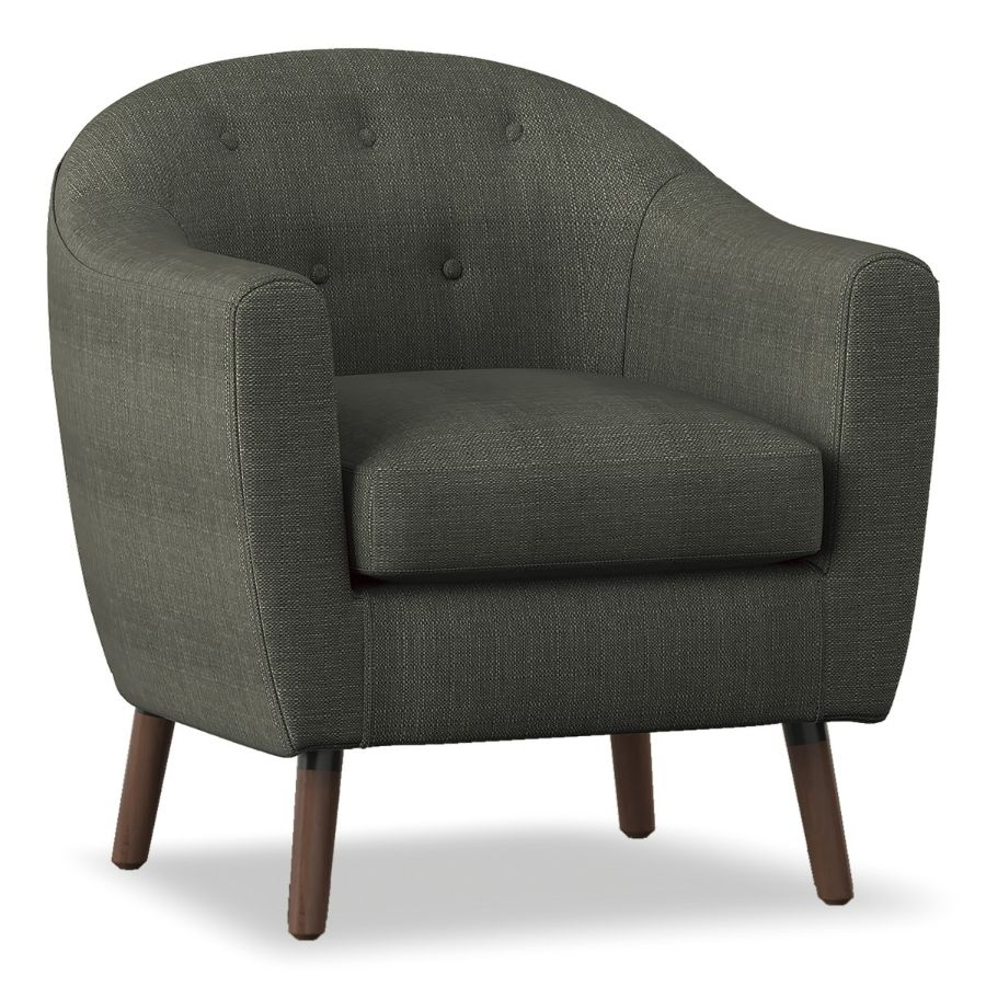 Homelegance 1192-GY Lucille mid century modern gray linen fabric accent chair